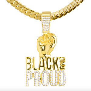 Simulated Diamond Black Lives Matter Necklace BLM Pendant Fist Gold Color Metal Alloy Chain Hip Hop Plated Black Proud Sign 24in.
