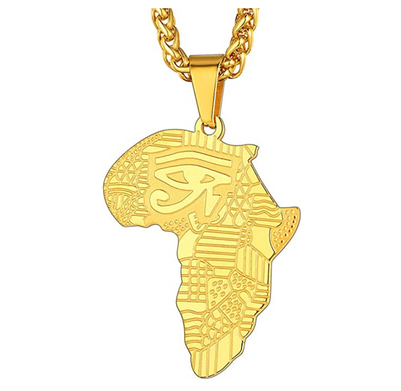 Africa Map Pendant Gold Silver Color African Jewelry Egyptian Necklace Eye of Ra Chain Horus Eye 24in.