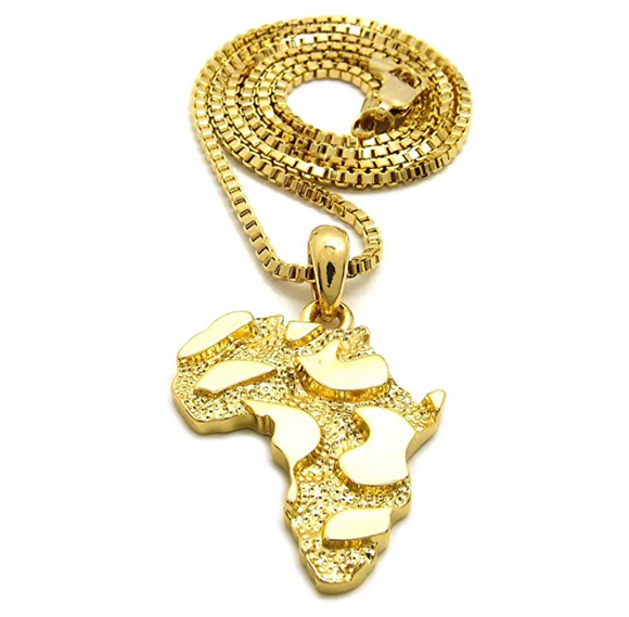 GoldNugget Africa Map Pendant Chain Africa Continent Jewelry Silver African Egyptian Necklace Gold Metal Color Alloy 24in.