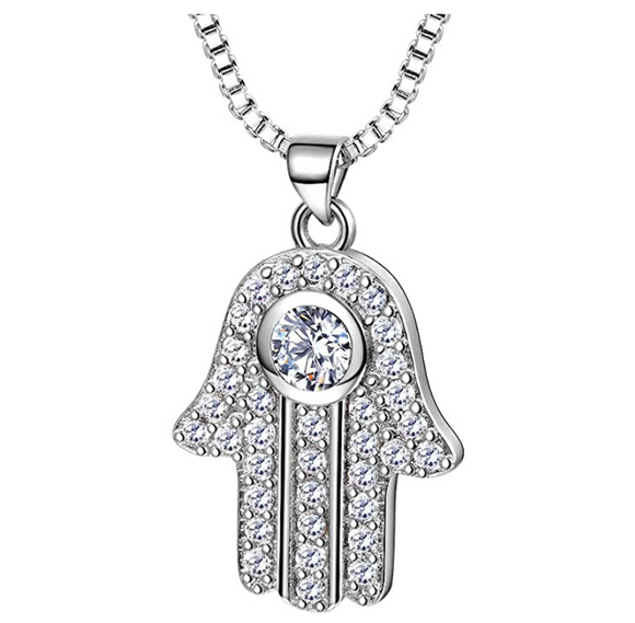 Hand of Fatima Pendant Gold Color Metal Alloy Hamsa Hand Chain Allah Muslim Simulated Diamond African Jewelry Kabbalah Silver Jewish Necklace 22in.