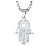 Star of David Hamsa Hand Pendant Gold Color Metal Alloy Hand of Fatima Chain Diamond African Jewelry Kabbalah Silver Jewish Necklace 22in.