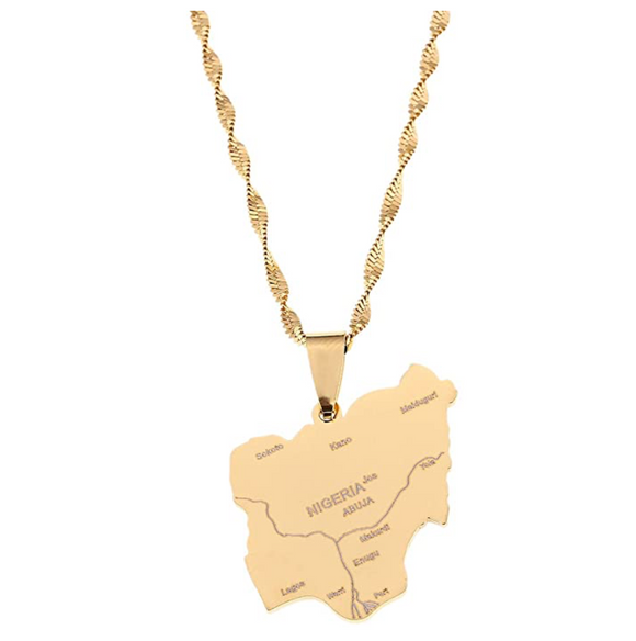 Nigeria Pendant Gold Color Metal Alloy Nigeria Chain African Jewelry Nigeria Necklace 20in.