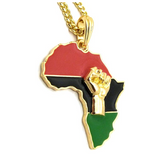 Black Power Fist Pendant Gold Hip Hop African Jewelry Silver Africa Map Necklace BLM Egyptian Chain 24in.