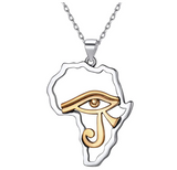 Eye Of Ra Pendant Horus Eye Gold Color Metal Alloy Chain African Jewelry Silver Africa Map Necklace 18in.