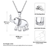Cute Elephant Pendant Simulated Diamond Chain Elephant Jewelry Silver Color Metal Alloy African Elephant Necklace 18in.