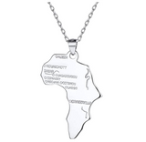 Africa Map Pendant Chain Africa Continent Jewelry Silver Color Metal Alloy African Names Necklace 18in.