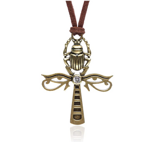 Egyptian Ankh Cross Pendant Rose Gold Color Metal Alloy Simulated Diamond Chain Eye of Ra Scarab Jewelry Horus Ankh Necklace