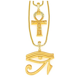 Egyptian Ankh Cross Pendant Gold Color Metal Alloy Simulated Diamond Chain Eye of Ra Scarab Jewelry Horus Ankh Necklace