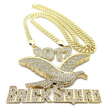 1017 Brick Squad Chain 1017 Pendant Gucci Mane Necklace Gold Color Metal Alloy Hip Hop Simulated Diamond Cuban Link Iced Out Silver 30in.