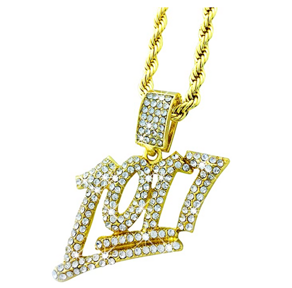 1017 Pendant Gucci Mane Necklace Gold Color Metal Alloy 1017 Brick Squad Chain Hip Hop Simulated Diamond Cuban Link Iced Out 24in.