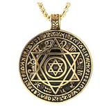 Jewish Sigil Chain Hebrew Six-Pointed Star 12 Constellation Solomon Seal Pendant Gold Color Solomon Talisman Wicca Necklace Silver Tone 24in.