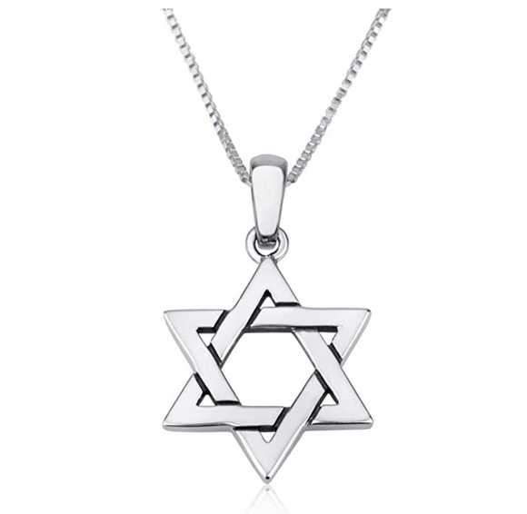 Hebrew Six-Pointed Star Pendant Star of David Necklace Silver Jewish Star Chain 18in.