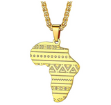 Dashiki African Pattern Pendant Gold Color Metal Alloy African Jewelry Egypt Silver Necklace Africa Map Chain 22in.