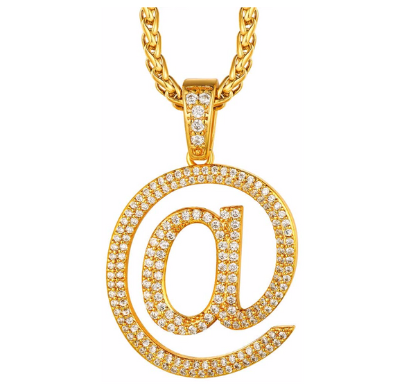 At @ Pendant Simulated Diamond Gold Color Metal Alloy Hip Hop Jewelry AT Sign Necklace Text Emoji A Chain 24in.