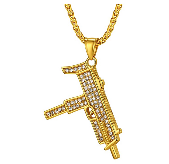 Uzi Pendant Gold Color Metal Alloy Hip Hop Gun Jewelry Uzi Simulated Diamond AK-47 Necklace Machine Gun Chopper Chain Iced Out 24in.