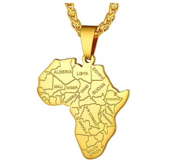 Africa Countries Pendant Hip Hop Silver African Jewelry Africa Map Necklace Egyptian Chain Gold Color Metal Alloy 24in.