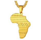 Africa Dashiki Pendant Gold Color Metal Alloy Hip Hop African Pattern Jewelry Silver Africa Map Necklace Egyptian Chain 24in.