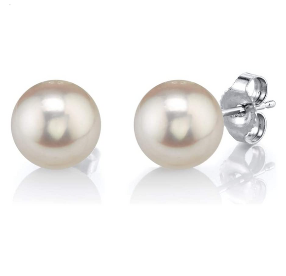 6mm Freshwater Cultured Pearl Earring Round Pearl Ball Gold Color Metal Alloy Earring Womens Silver Pearl Earrings