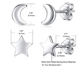 5mm Star Moon Earring Silver Color Metal Alloy Star Earring Womens Small Moon Crescent Earrings (2 Pair)