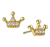 9mm Small Crown Earring Gold Color Metal Alloy Simulated-Diamond Stud Silver Crystal Crown Earring King Queen Earring