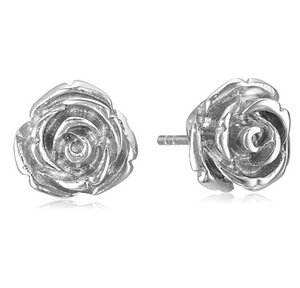 10mm Silver Color Metal Alloy Rose Flower Earring Silver Rose Gold Earring Womens Stud Earrings