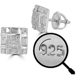 9mm Square Earrings Silver Hip Hop Earring Simulated-Diamond Screw Back Iced Out (1 Carat)