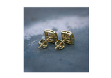 8mm Square Earrings Hip Hop Earring Simulated-Diamond Gold Color Metal Alloy Screw Back Iced Out Box Earrings (1 Carat)