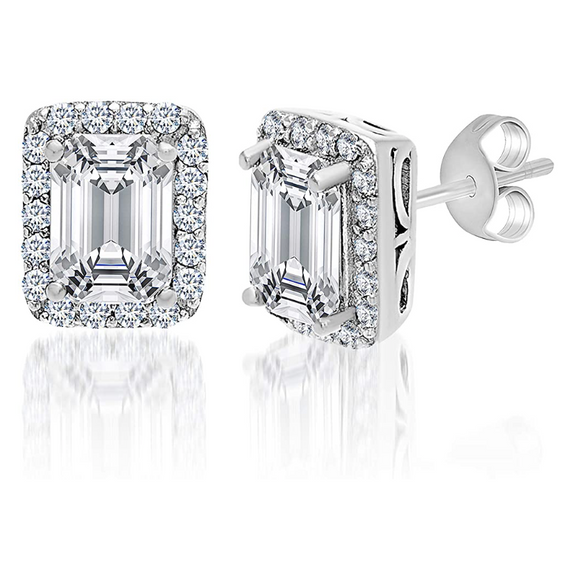 6mm Emerald Cut Simulated-Diamond Earring Rose Gold Color Metal Alloy Baguette Square Silver Earrings Emerald (2.5 Carat)