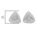 10mm Trillion Earrings Triangle Earring Halo Simulated-Diamond Round Square Crystal Earrings Hip Hop Silver Color Metal Alloy Stud