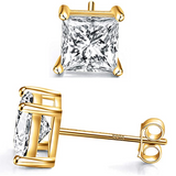 7mm 925 Silver Silver Stud Earring Square Simulated-Diamond Earring Men Rose Gold Earrings Hip Hop Earrings Princess Cut (4ct.)