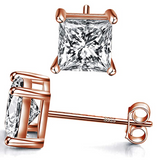 7mm Gold Color Metal Alloy Stud Earring Square Simulated-Diamond Earring Men Rose Gold Earrings Hip Hop Silver Crystal Earrings Princess Cut (4ct.)