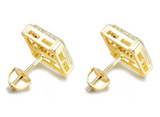11mm Hip Hop Square Stud Earring Silver Men Earrings Gold Color Metal Alloy Simulated-Diamond Earring
