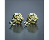 10mm Cluster Earring Gold Color Metal Alloy Hip Hop Round Stud Earrings Circle Simulated-Diamond Earrings