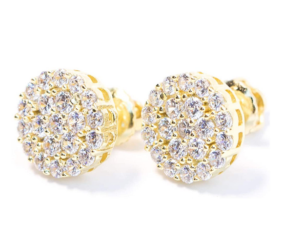 10mm Round Stud Cluster Earring Gold Color Metal Alloy Hip Hop Earrings Circle Simulated-Diamond Earrings