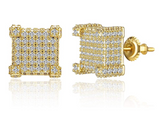 10mm Box Stud Earring Gold Color Metal Alloy Hip Hop Simulated-Diamond Earrings Square Screw Back Iced Out