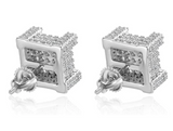 10mm Square Box Stud Earring Gold Color Metal Alloy Hip Hop Simulated-Diamond Earrings Square Screw Back Iced Out