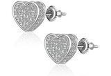 7mm Love Earrings Heart Gold Color Metal Alloy Simulated-Diamond Silver Screw Back Heart Hip Hop Stud Love Earring