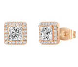 9mm Princess Earrings Square Cluster Rose Gold Color Metal Alloy Simulated-Diamond Square Silver Stud Earring