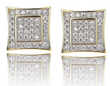 7mm Hip Hop Square Gold Color Metal Alloy Earrings Simulated-Diamond Stud Earring Silver Men Screw Back Earrings Princess Cut
