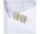 11mm Square Screw Back Earrings Princess Cut Silver Color Metal Alloy Hip Hop Square Earrings Simulated-Diamond Stud Earring Gold