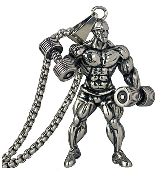 Mr. Olympia Gym Necklace Weight Plate Barbell Exercise Workout Chain Dumbbell Bodybuilding 24in.
