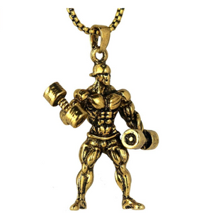 Workout Man Chain Dumbbell Bodybuilding Mr. Olympia Gym Necklace Weight Plate Barbell Exercise 24in.