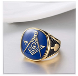 Blue & Gold Color Freemason Ring Master Mason Ring Masonic Degree Ring  Compass & Square G Regalia Jewelry