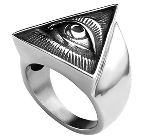Pyramid Horus Ra Ring Triangle Eye of God Rings Freemason Masonic Ring Illuminati Jewelry
