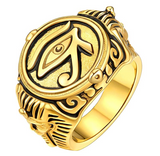 Egyptian Eye of Ra Ring Horus Ankh Cross Ring Silver Gold Ring African Jewelry