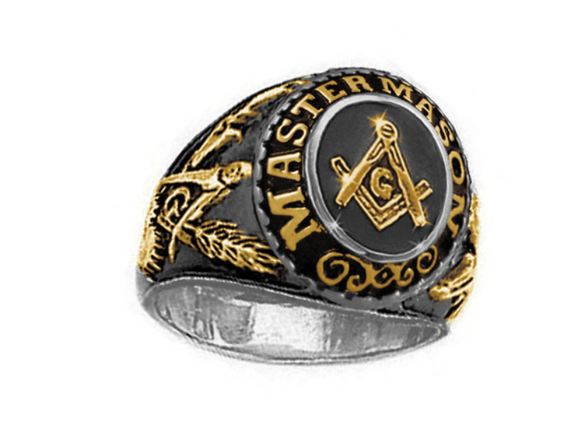 Gold Color Freemason Ring Master Mason Ring Masonic Ring Compass & Square G Regalia Jewelry