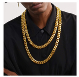 14mm Gold Cuban Link Chain Hip Hop Rapper Jewelry