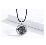 Celtic Lion Medallion Necklace African Lion Head Chain Simulated-Diamond Lion Jewelry Leo Judah Lion Heart Chain Silver Color Metal Alloy 24in.