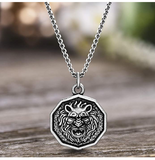 Lion Head Medallion Necklace Leo Hebrew African Lion Jewelry Judah Lion Chain 28in.