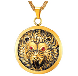 Lion Medallion Necklace Leo African Lion Head Chain Judah Lion Jewelry Hebrew Roaring Gold Lion Chain Silver Color Metal Alloy 24in.